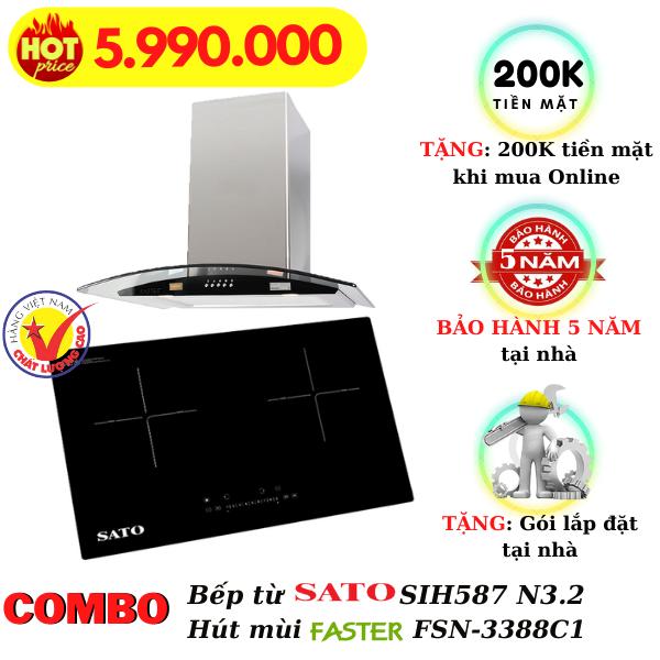 combo bếp từ hút mùi SIH587 N3.2/FSN-3388C1